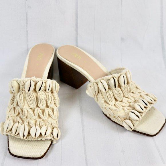 ZARA Crochet Seashell Block Heel Slide Mule 40 9